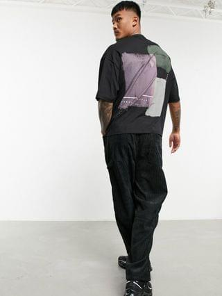 Unrvlld Supply oversized T-shirt with abstract back print & contrast stitching