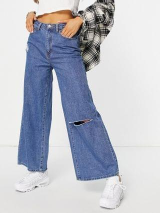 WOMEN Signature 8 high waisted ripped wide leg jean in mid wash