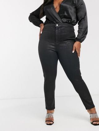 WOMEN Curve Rivington high waisted stretch powerhold denim jeggings in black coated