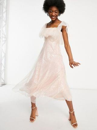 WOMEN Forever U organza bardot midi dress in pink sequin