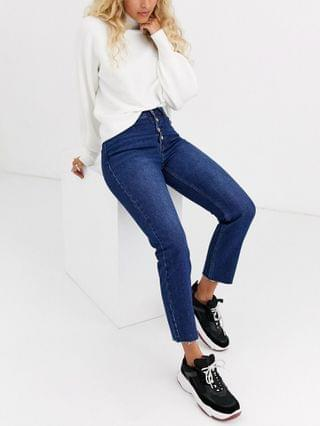 WOMEN Only straight leg jean with exposed buttons in dark blue