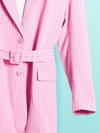 WOMEN Weekday Jean two-piece recycled pinstripe belted blazer in pink