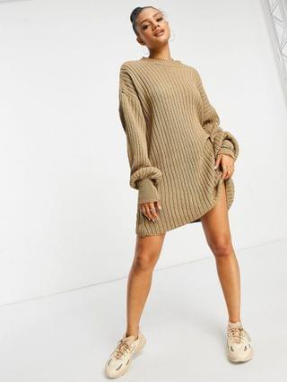 WOMEN I Saw It First knitted sweater dress in mocha