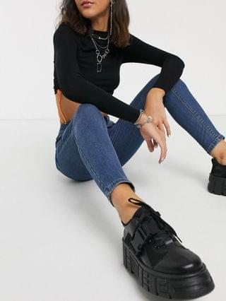 WOMEN COLLUSION x001 skinny jeans in mid wash blue