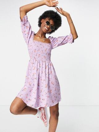 WOMEN New Look shirred mini dress in lilac floral
