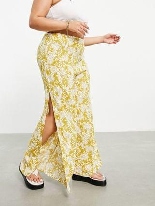 WOMEN En Cr me Plus wide leg pants with slit in yellow floral