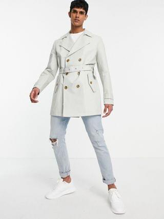 rain resistant double breasted trench coat in gray
