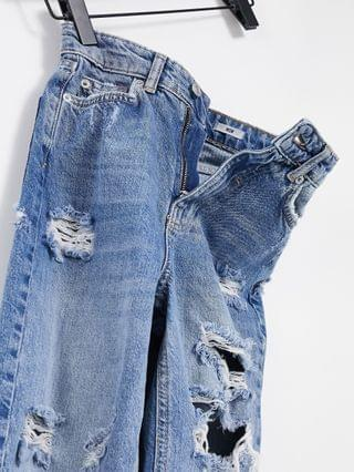 WOMEN New Look ripped mom jeans in light blue