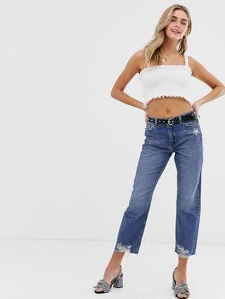 WOMEN Miss Selfridge recycled denim straight leg jeans with ripped hem in mid wash
