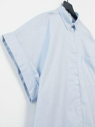 WOMEN Monki Wanna organic cotton chambray midi shirt dress in pale blue