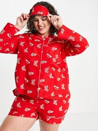 WOMEN Daisy Street Plus long sleeve shirt and shorts pajama set with eye mask in butterfly print