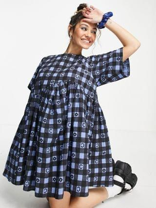 WOMEN COLLUSION seersucker gingham mini smock dress in blue print