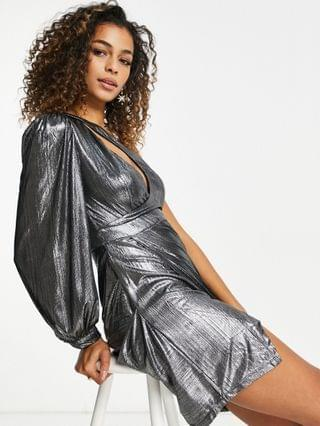 WOMEN Ei8th Hour one sleeve mini dress in metalic silver