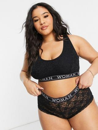 WOMEN Yours lounge lace lingerie set in black