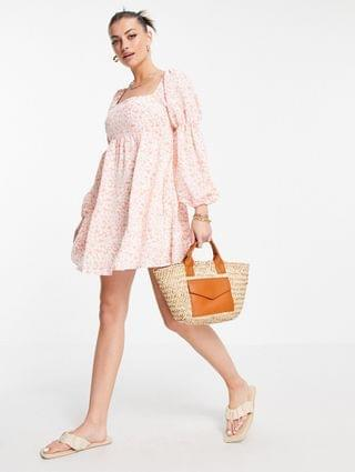WOMEN Fashion Union mini volume smock dress with puff sleeves in pink floral