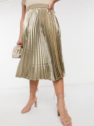 WOMEN Outrageous Fortune Plus pleated midi skirt in metallic
