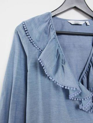 WOMEN & Other Stories organic cotton frill detail chambray blouse in blue