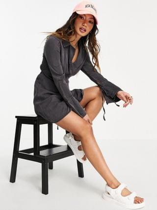 WOMEN soft denim wrap dress in washed black