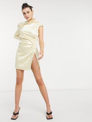 WOMEN one shoulder tuck wrap mini dress in champagne gold