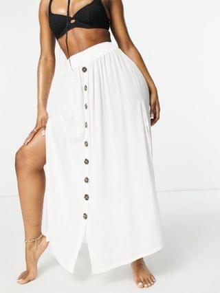 WOMEN Accessorize button up beach skirt in white