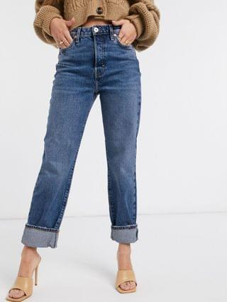 WOMEN River Island super high rise straight leg jeans in mid auth blue