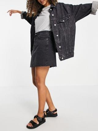 WOMEN Dr Denim Echo high rise denim skirt in faded black