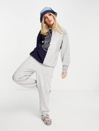 WOMEN Daisy Street relaxed sweatshirt with atlanta print in color block - part of a set