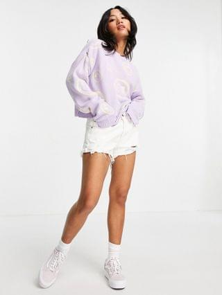 WOMEN Petite sweater with smile face pattern in lilac