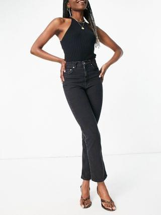 WOMEN Tall high rise 'stretch' straight leg jeans in washed black