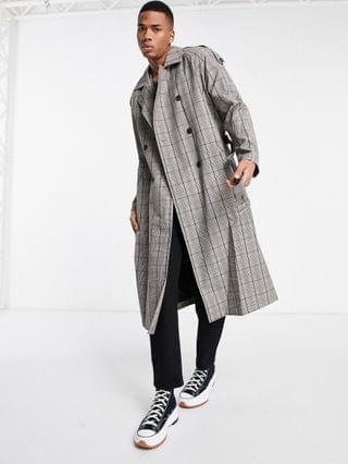 double breasted trench coat in gray check