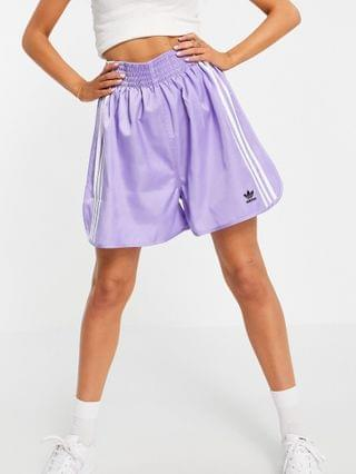WOMEN adidas Originals x Dry Clean Only three stripe logo boxing style shorts in light purple