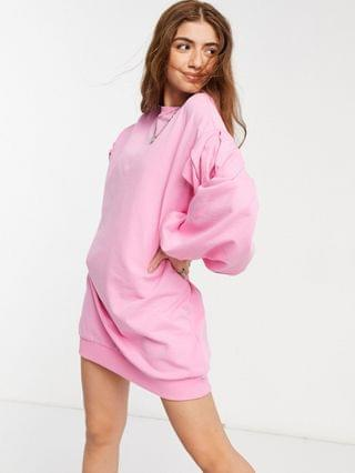WOMEN oversized balloon sleeve sweatshirt dress in pink