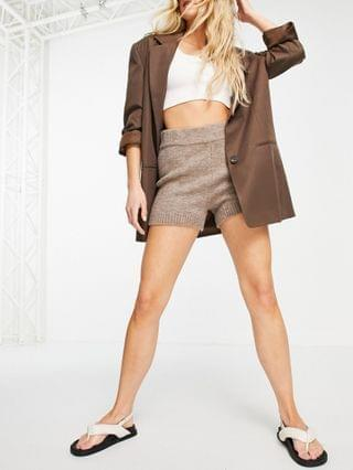 WOMEN set knitted shorts in taupe