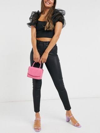WOMEN New Look lift and shape coated skinny jeans in black