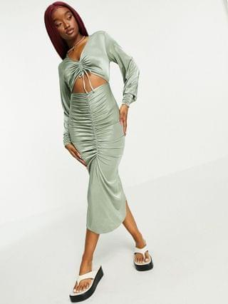 WOMEN two piece ruched satin midi dress in sage green