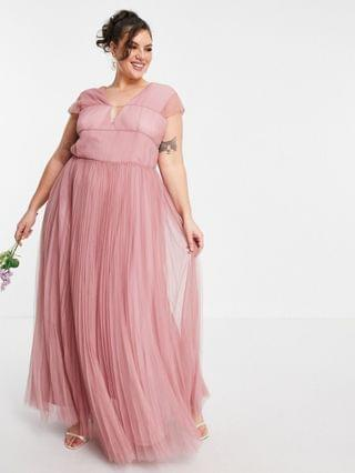 WOMEN Curve tulle plunge maxi dress with shirred sleeves in rose