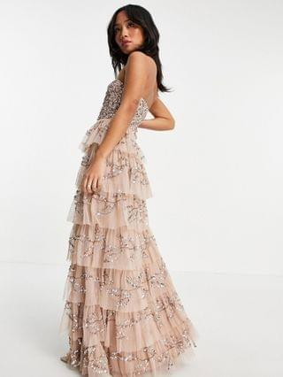 WOMEN Maya Petite bandeau all over embellished tiered maxi dress in taupe blush