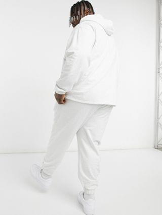 organic oversized tracksuit with hoodie & oversized sweatpants in white marl