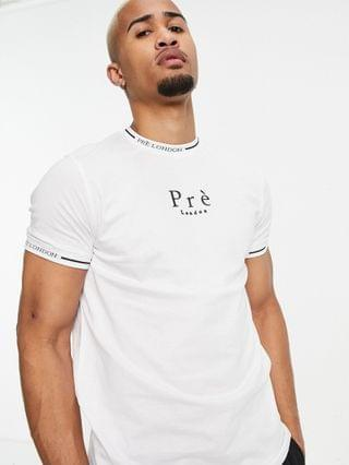 Pr London forno neck logo t-shirt in white