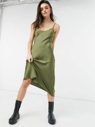 WOMEN AllSaints Benno long sleeve 2in1 slip satin dress in olive green