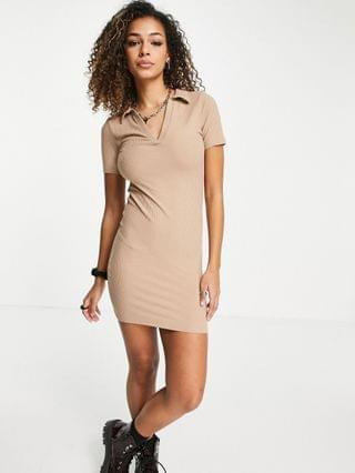 WOMEN Stradivarius ribbed polo dress in beige