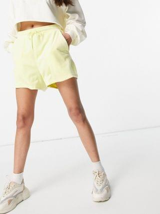 WOMEN Monki Kajsa velour pull on shorts in yellow mix & match set