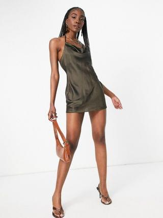 WOMEN Tall satin cowl front mini dress with lace up back