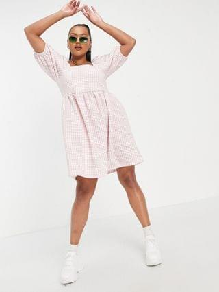 WOMEN Yours puff sleeve mini dress in pink gingham