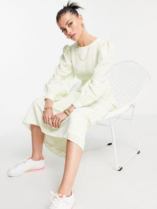 WOMEN Fashion Union midi smock dress with balloon sleeves in lime floral