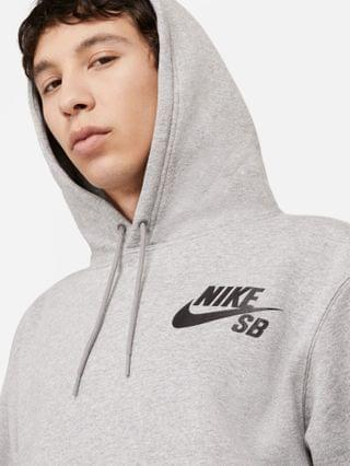 MEN Nike SB Icon Essentials logo hoodie in gray heather