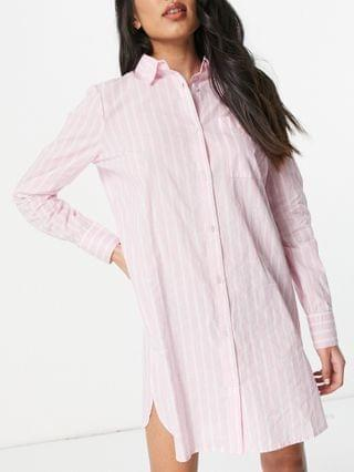 WOMEN River Island oversized striped pajama shirt dress in pink