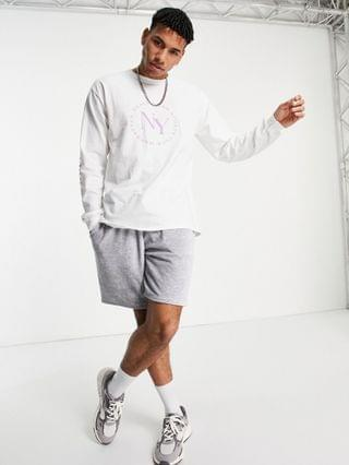 New Look long sleeve oversized NY t-shirt in white