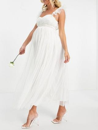 WOMEN Anaya With Love Maternity Bridesmaid tulle flutter sleeve midaxi dress in white