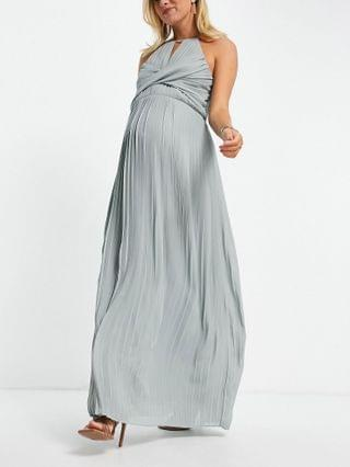 WOMEN TFNC Maternity bridesmaid pleated wrap detail max dress in sage